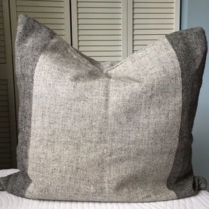 Crate & Barrel Pillow Cover Tweed Wool Gray Large